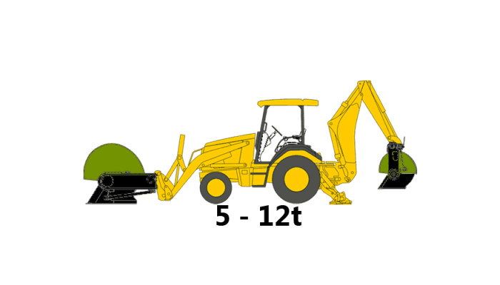 Backhoe, 5 to 12 tons