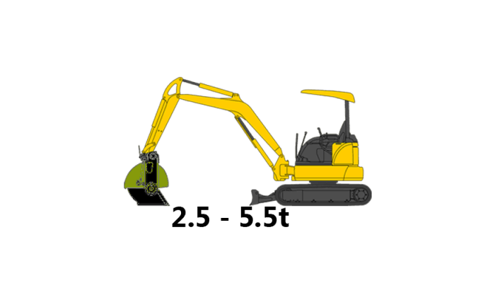 Mini Excavator Buckets, 2.5 - 5.5 tons